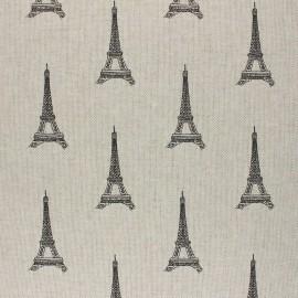 Linen aspect polycotton fabric - black Tour Eiffel x 10cm