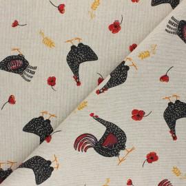 Tissu Toile polycoton aspect lin Cocottes - noir x 10cm