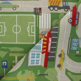 Polycotton canvas fabric - multicolor B Roadmap x 70cm