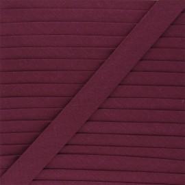 Biais tout textile 20 mm - lie de vin x 1m