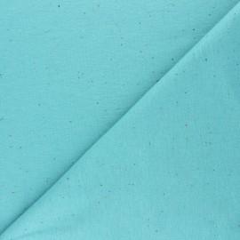 Tissu sweat moucheté - bleu aqua x 10cm