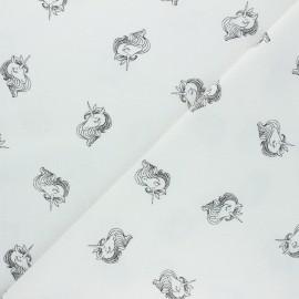 Tissu coton lavé Lili la Licorne - Écru x 10cm