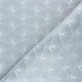 Jacquard fabric - white/silver Corea x 10cm