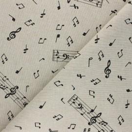 Tissu Toile polycoton aspect lin Music notes - noir x 10cm