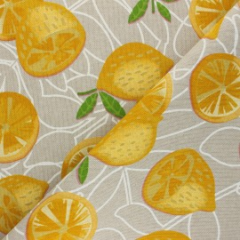 Linen aspect polycotton fabric - yellow Limon x 10cm
