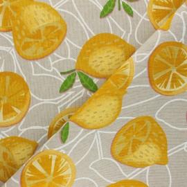 Tissu Toile polycoton aspect lin Limon - jaune x 10cm
