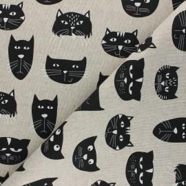 Tissu Toile polycoton aspect lin Black cats - noir x 10cm