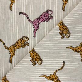 Tissu Toile polycoton aspect lin Le guépard rose - jaune moutarde x 10cm