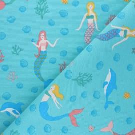 Tissu Toile polycoton Mermaid world - bleu x 10cm