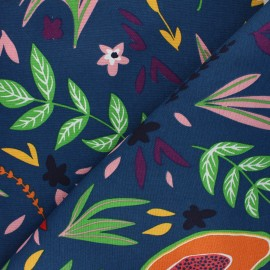 Polycotton canvas fabric - petrol blue Flowers and fruits x 10cm