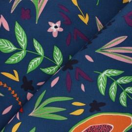 Tissu Toile polycoton Flowers and fruits - bleu pétrole x 10cm