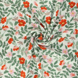 Tissu rayonne Rifle Paper co. Strawberry Fields B - vert amande  x 10cm