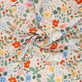 Tissu coton Rifle Paper co. Strawberry Fields A - nude x 10cm