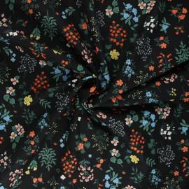 Tissu coton Rifle Paper co. Strawberry Fields C - noir x 10cm