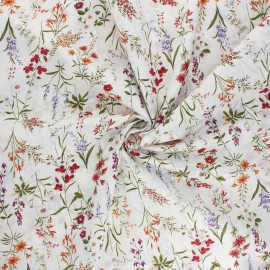 Tissu popeline de coton Kokka - Odelie - blanc x 10cm