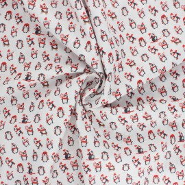 Tissu coton Christmas Penguin - blanc x 10cm