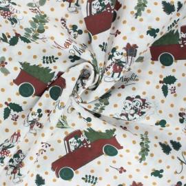 Tissu coton Christmas Mickey - écru x 10cm