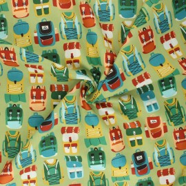 Camping Crew cotton fabric - green Backpacks x 10 cm