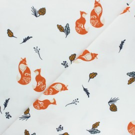 Printed Jersey fabric - white Winter Foxes x 10cm