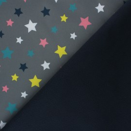 Patterned Softshell fabric  - grey Fancy Stars x 10cm