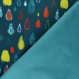Patterned Softshell fabric  - pine green Graphic Rain x 10cm