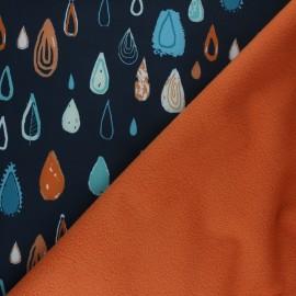 Tissu Softshell Graphic Rain - bleu marine x 10cm