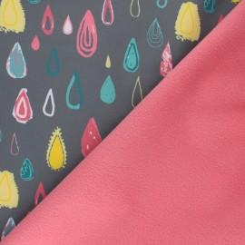 Patterned Softshell fabric  - grey Graphic Rain x 10cm