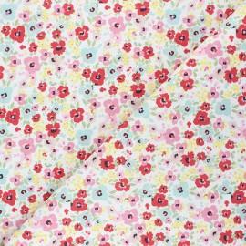 Cretonne Cotton fabric - white Spring flowers x 10cm