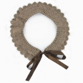 Wool lace collar - beige