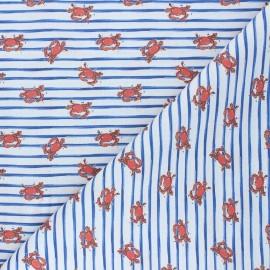 Tissu coton cretonne Striped crabs - blanc x 10cm