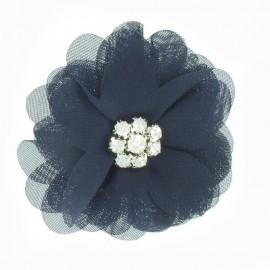 Broche Fleur voile et strass marine