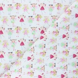 Cretonne Cotton fabric - white Fairy friends x 10cm