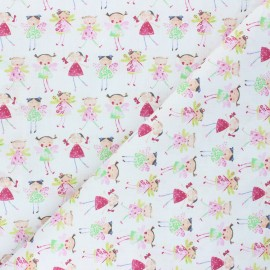 Tissu coton cretonne Fairy friends - blanc x 10cm