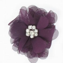 ♥ Broche Fleur voile et strass violet ♥