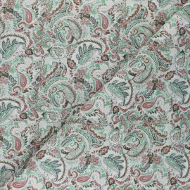 Tissu coton cretonne Pradesh - gris x 10cm