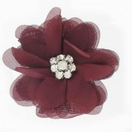 ♥ Broche Fleur voile et strass grenat ♥