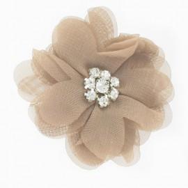 Broche Fleur voile et strass beige