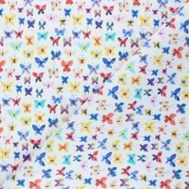 Tissu coton cretonne Mariposas - blanc x 10cm