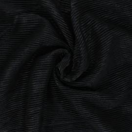 Metallic Pleated polyester fabric - black Mya x 10cm