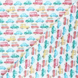 Tissu coton cretonne Car traffic - blanc x 10cm