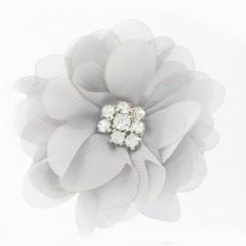 Net Flower brooch with rhinestones - grey