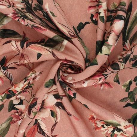 Tissu viscose Gentiane - bois de rose x 10cm
