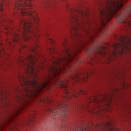 Leather Imitation fabric - red Tortosa x 10cm