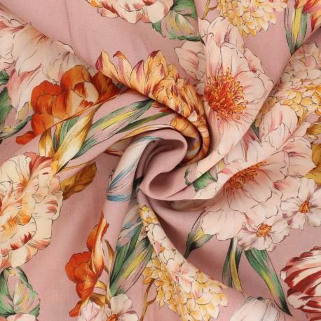 Tissu viscose Peony Bouquet - vieux rose x 10cm
