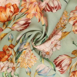 Tissu viscose Peony Bouquet - vert sauge x 10cm
