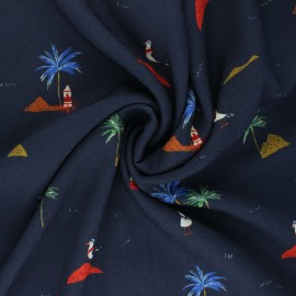 Viscose Fabric - navy blue Seagull Beach x 10cm