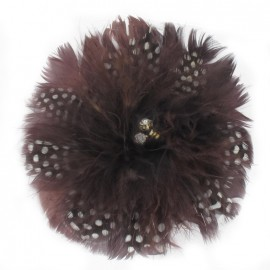 Flecked Feather Flower brooch/hair-clip - brown