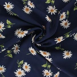 Tissu viscose Pretty Daisy - bleu marine x 10cm