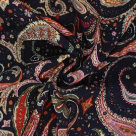 Tissu viscose Boho Flowers - noir x 10cm
