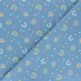 Stenzo jersey cotton fabric - blue Rainbow Drops x 10cm